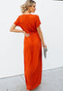 Image of Elegant Pure Color High Split Tie Waist V-Neck Party Maxi Dress | Edlpe