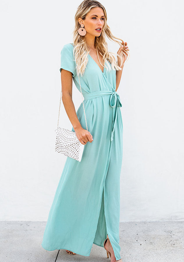 Elegant Pure Color High Split Tie Waist V-Neck Party Maxi Dress | Edlpe