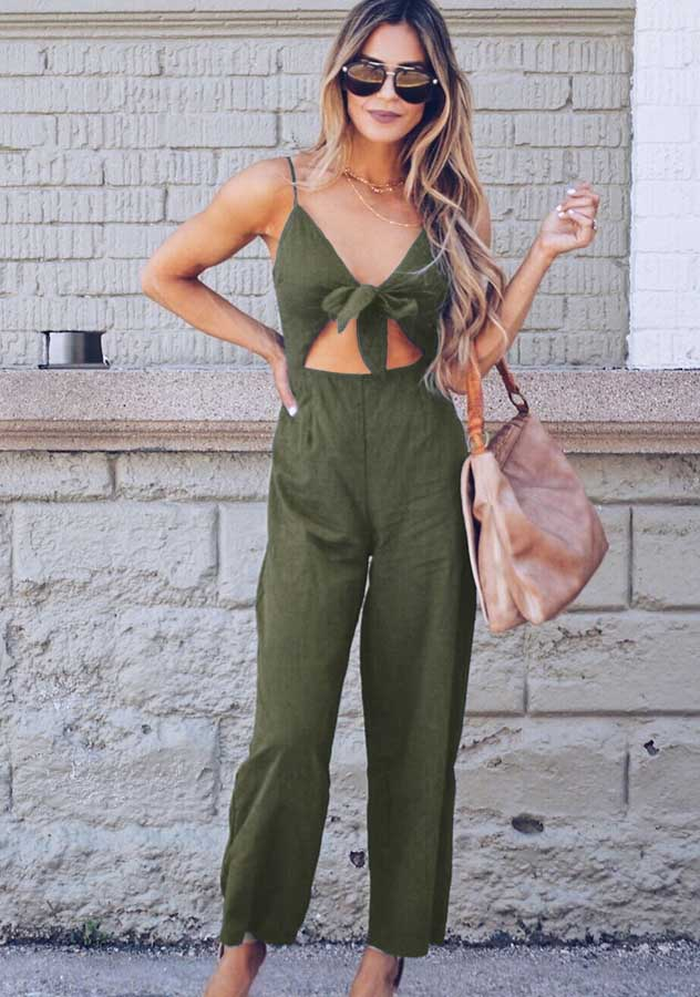 Concise Pure Color Bow Front Cut Out Sling Wide Leg Jumpsuit | Edlpe