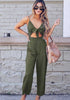 Image of Concise Pure Color Bow Front Cut Out Sling Wide Leg Jumpsuit | Edlpe