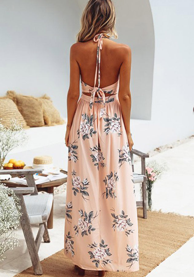 Vacation V Neck Cut Out High Waist Backless Side Slit Maxi Dress | Edlpe