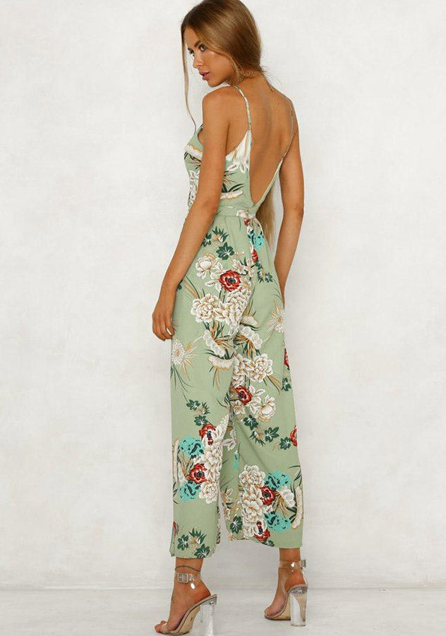Holiday Sling Deep-V Floral High Split Tie Waist Jumpsuit | Edlpe