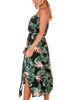 Image of Tropical Floral Leaf Printed Bandeau Tie Waist Midi Dress | Edlpe