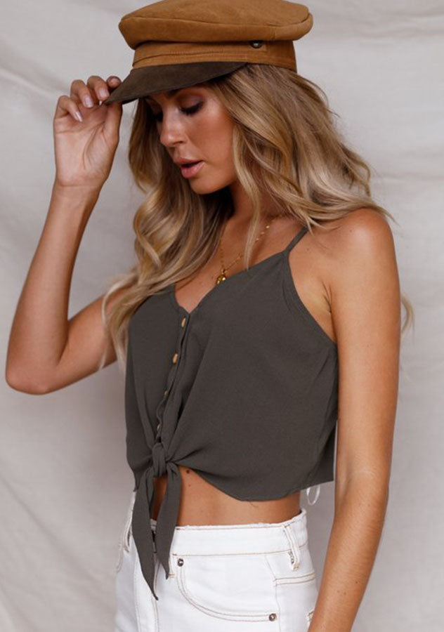 Summer Pure Color Sling Knot Tie Button Vest Top | Edlpe