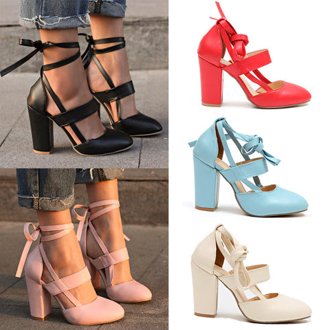 Womens Ankle Strap Sandals Block Mid High Heel Ladies Peep Toe Party Prom Shoe | Edlpe