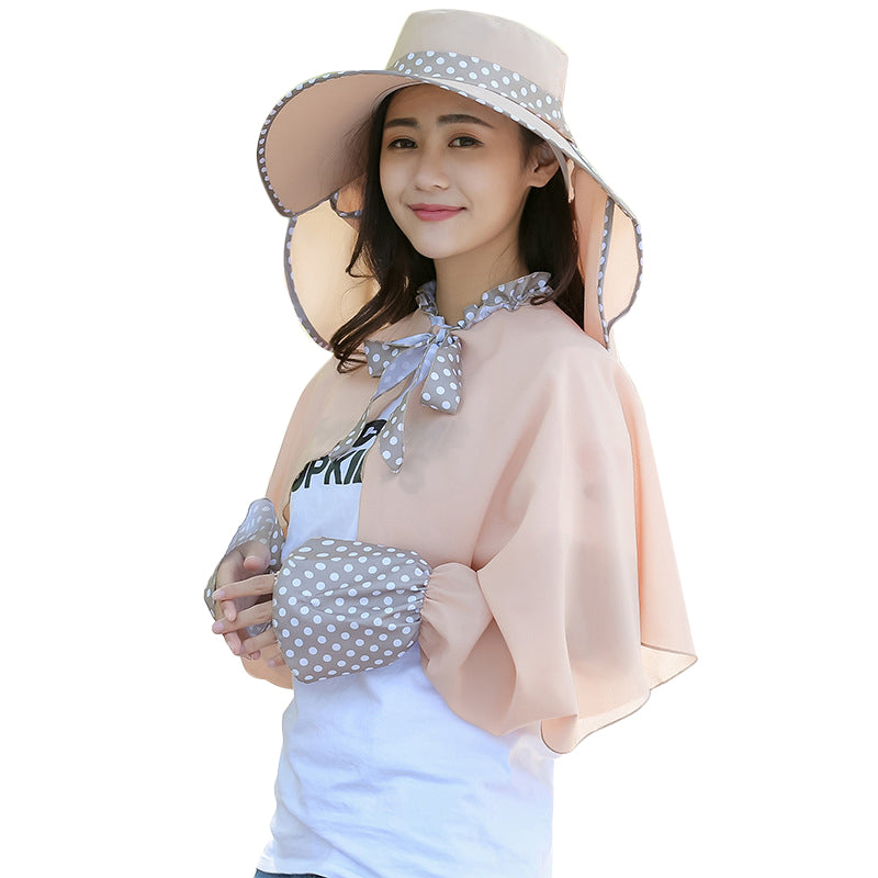 2Pcs Women Summer Sun Hat Wide Brim Cape Floppy Sunscreen Anti-Uv Foldable Cap Beach Shawl | Edlpe