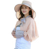 Image of 2Pcs Women Summer Sun Hat Wide Brim Cape Floppy Sunscreen Anti-Uv Foldable Cap Beach Shawl | Edlpe