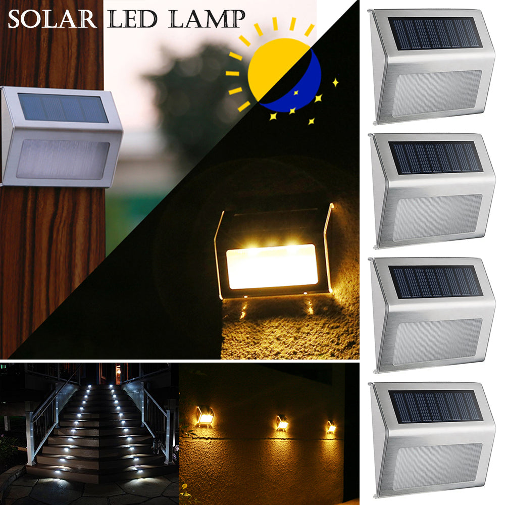 Stainless Steel Waterproof Led Garden Light Solar Powered Wall Lamp | Edlpe