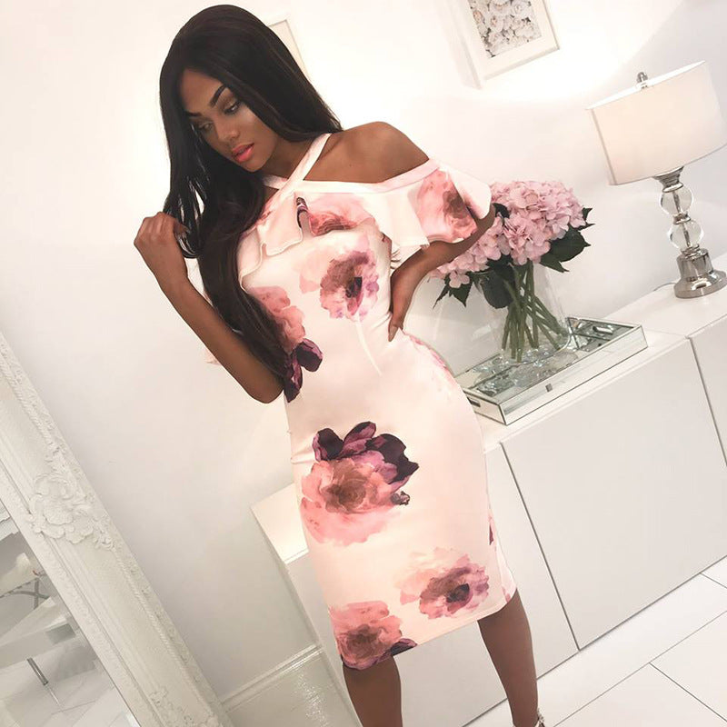 Sexy Womens Summer Floral Cold Shoulder Bodycon Dress Evening Party Midi Dress | Edlpe