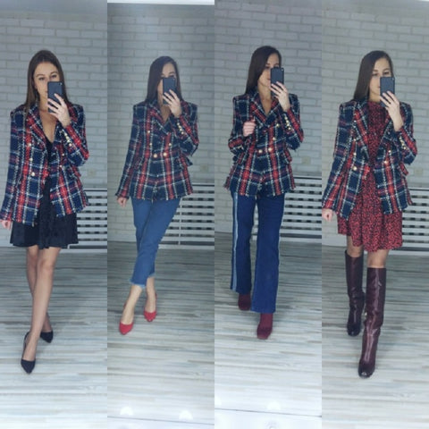 Simplee Casual tweed plaid blazer women 2018 Red blend winter jacket coat mujer Fashion office ladies female blazer coat autumn