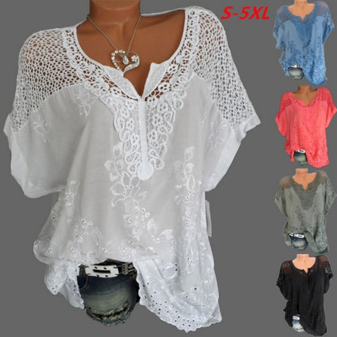 2019 Summer New Women Short Sleeve Solid Color Shirt Fashion Openwork Lace Crochet Shirt Street Casual 5 Color  Shirt Size S-5XL