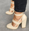 Image of Womens Ankle Strap Sandals Block Mid High Heel Ladies Peep Toe Party Prom Shoe | Edlpe