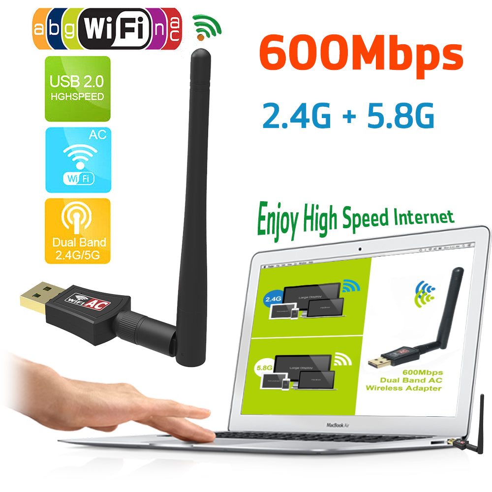 Dual Band Wireless Lan Dongle Usb 2.0 802.11Ac Wifi 600Mbps Adapter | Edlpe