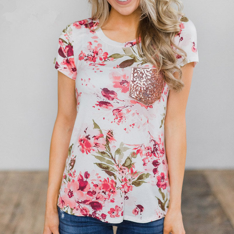 Summer Womens Floral Tops Blouse Ladies Short Sleeve Loose Casual T-Shirt Tops Plus Size | Edlpe