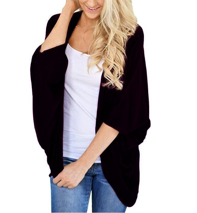 Plus Size Women Batwing Sleeve Shawl Kimono Cardigan Beach Cover Up Loose Tops | Edlpe