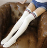 Image of Womens Girl Striped Over The Knee Socks Thigh High Stretchy Socks Cotton Long Leggings | Edlpe