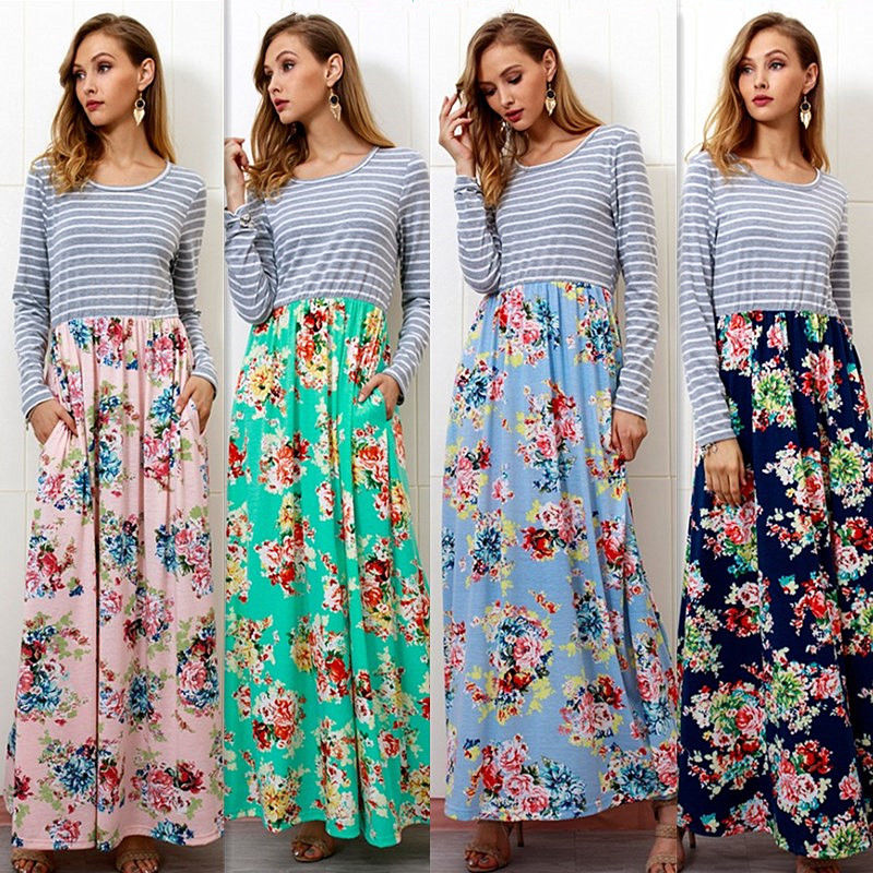 Women Long Sleeve Stripe Maxi Dress Ladies Floral Patchwork Casual Long Swing Dress | Edlpe