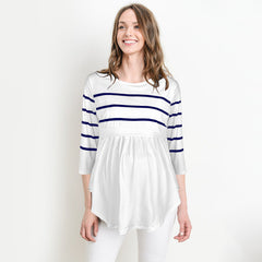 Women Striped Blouse Tops Pregnant Maternity Casual Long Sleeve Ruffle Tee Shirt