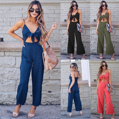 Women Sexy Bowknot Strap V Neck Backless Sleeveless Wide Leg Pants Jumpsuit Romper Clubwear | Edlpe