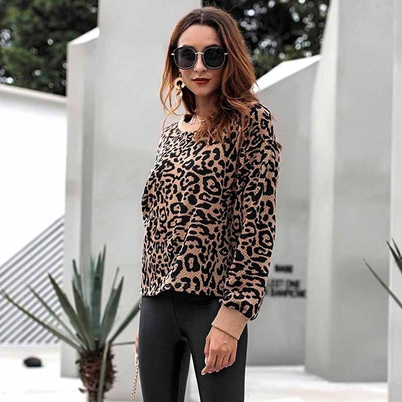 Women Leopard Jumper Pullover Top Long Sleeve Sweatshirt Fashion Sweater | Edlpe