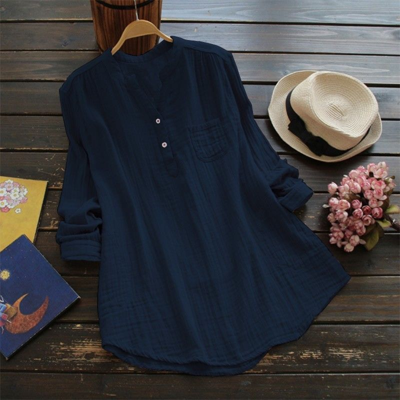 Womens Long Sleeve Button Blouse Plain Ladies Casual T-Shirt Tops | Edlpe