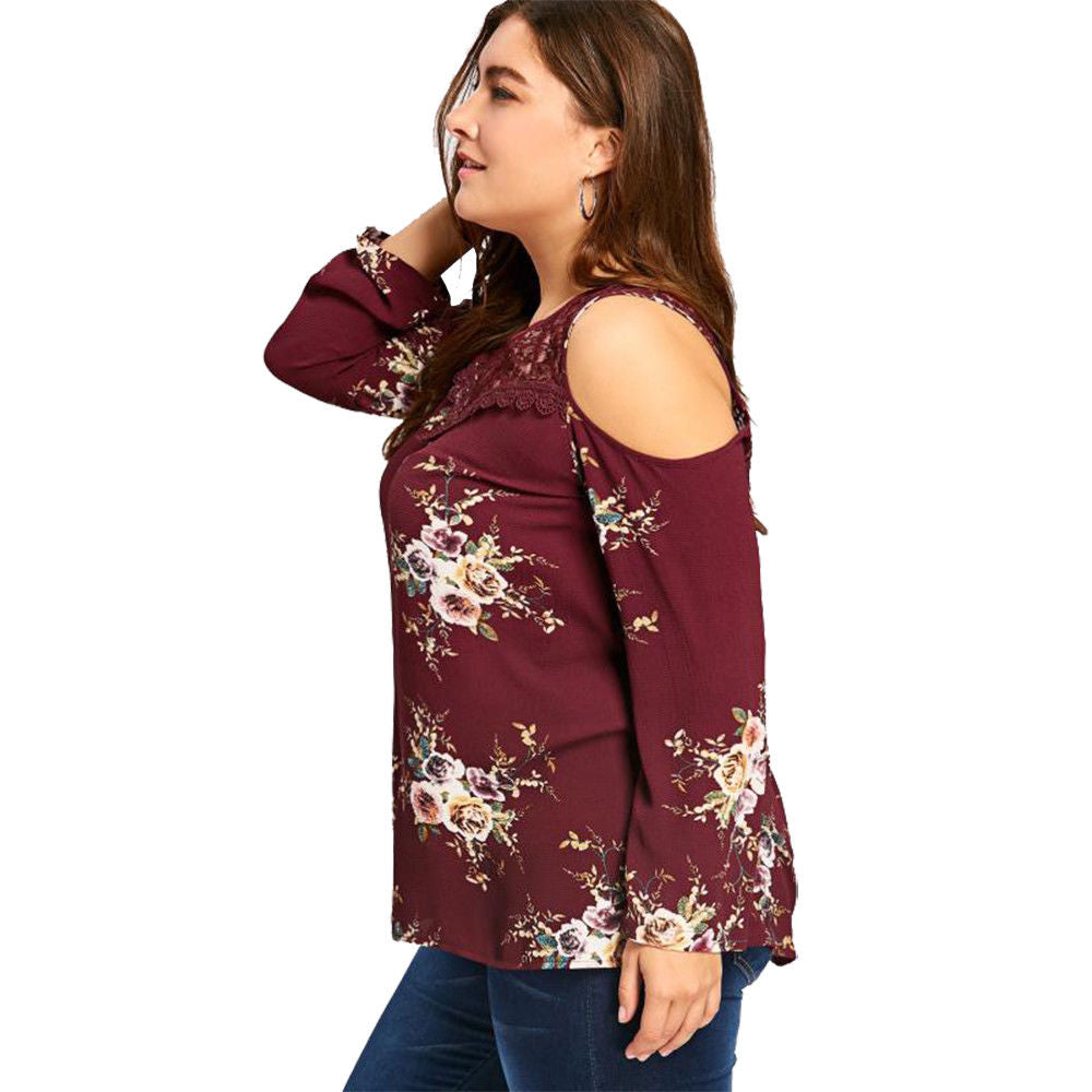 75dc3ab49ed988 ... Plus Size Womens Floral Lace Splicing Blouse Long Sleeve Cold Shoulder  Tops Tee