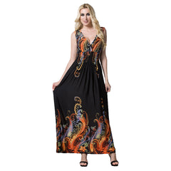 Plus Size Women V Neck Floral Sleeveless Maxi Dress Summer Party Beach Sundress | Edlpe