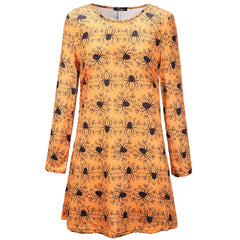 Plus Size Womens Ladies Long Sleeve Halloween Print Swing Skater Halloween Dress
