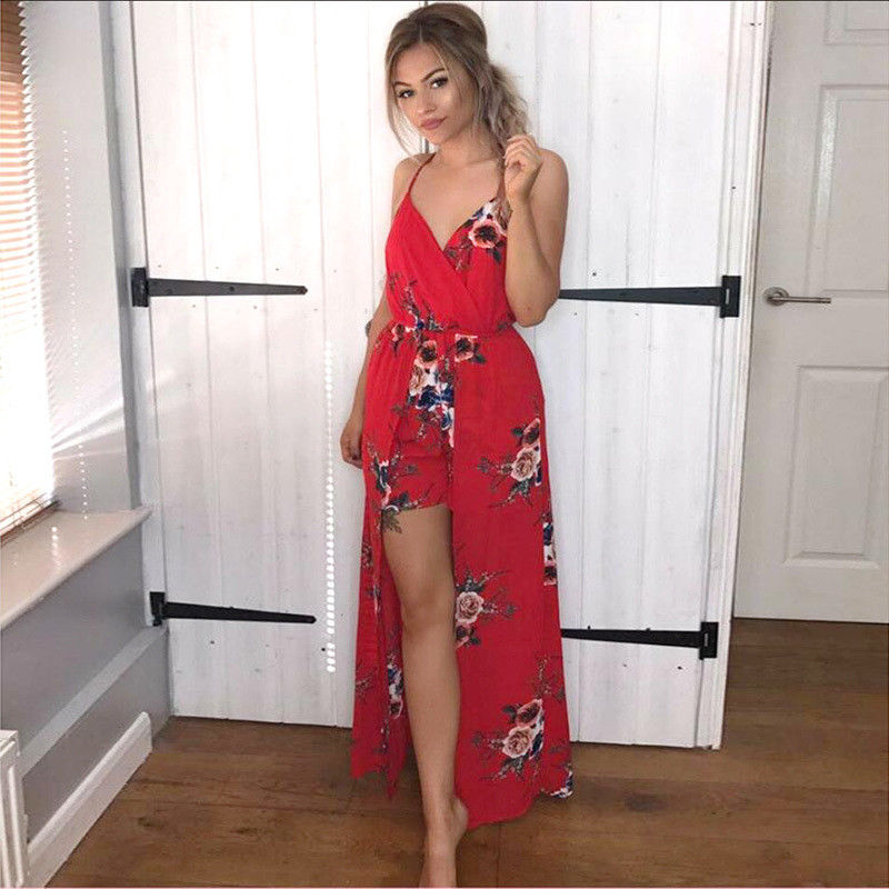 Boho Womens Strappy Holiday Mini Playsuit Summer Beach Jumpsuit Maxi Dress | Edlpe
