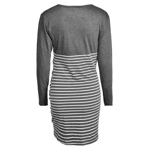 Striped Nursing Breastfeeding Mini Dress Pregnant Maternity Casual Dress | Edlpe