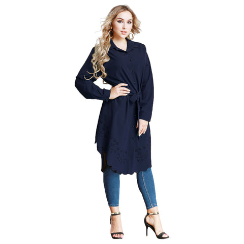 Plus Size Women V Neck Button Mini Shirt Dress Casual Loose Office Ol Long Tops | Edlpe