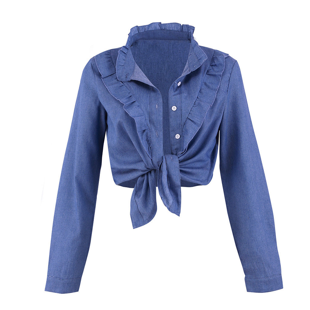 Women Long Sleeve V Neck Button Denim Crop Tops Casual Bandage Ruffle Blouse | Edlpe