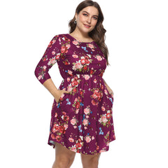 Womens Plus Size Floral Long Sleeve Midi Dress Party Evening Dress