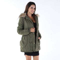 Fur Collared Long Sleeve Coat Ladies Zip Up Casual Winter Warm Jacket
