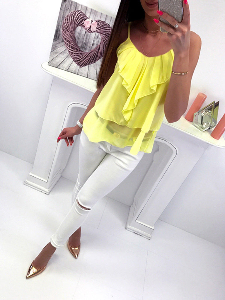 Womens Summer Sling Chiffon Ol Shirt Ladies Casual Vest Tops Blouse Plus Size | Edlpe