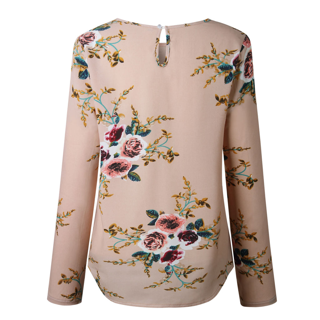 Fashion Womens Long Sleeve Top Summer Beach Ladies Floral Loose Blouse T Shirt | Edlpe