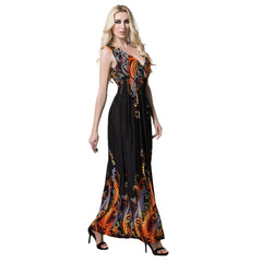 Plus Size Women V Neck Floral Sleeveless Maxi Dress Summer Party Beach Sundress