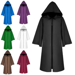 Adult Women Men Hooded Cloak Cape Halloween Long Robe Coaplay Witchcraft Coat | Edlpe