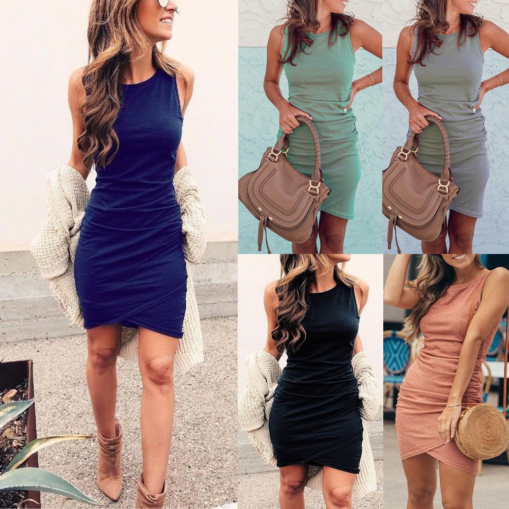 Womens Sleeveless Casual Long Tops Slim Fit Bodycon Ladies Summer T Shirt Mini Dress | Edlpe