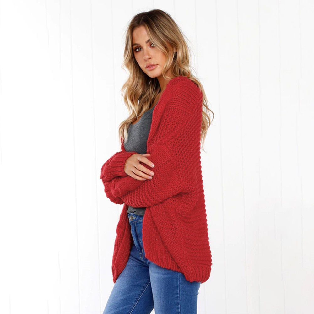 Women Long Sleeve Tops Blouse Sweatershirt Loose Knitted Cardigan Coats Knitwear | Edlpe