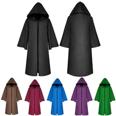 Adult Women Men Hooded Cloak Cape Halloween Long Robe Coaplay Witchcraft Coat