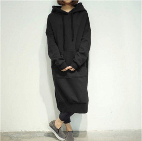 Plus Size Women Long Sleeve Sweatshirt Hoodies Dress Casual Long Hooded Sweats | Edlpe