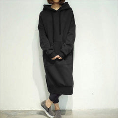 Plus Size Women Long Sleeve Sweatshirt Hoodies Dress Casual  Long Hooded Sweats