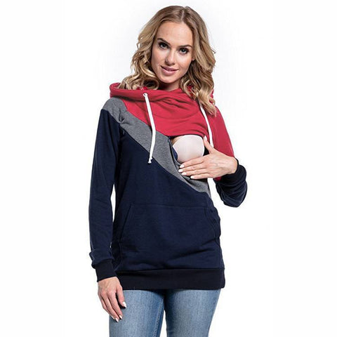 Nursing Jumper Maternity Clothes Hooded Breastfeeding Hoodie Tops