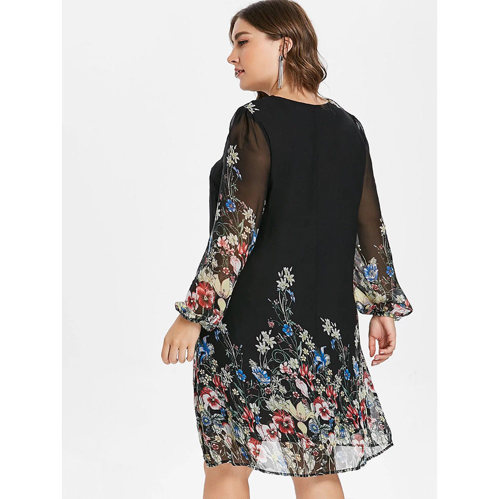 ... Plus Size Uk Women Retro Boho Floral Long Sleeve Dress Chiffon Loose  Tunic Tops  ab923f4fa2ab