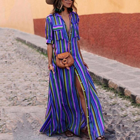 Women Holiday V Neck Striped Maxi Casual Long Dress Ladies Boho Shirt Dress Plus Size S-3Xl | Edlpe