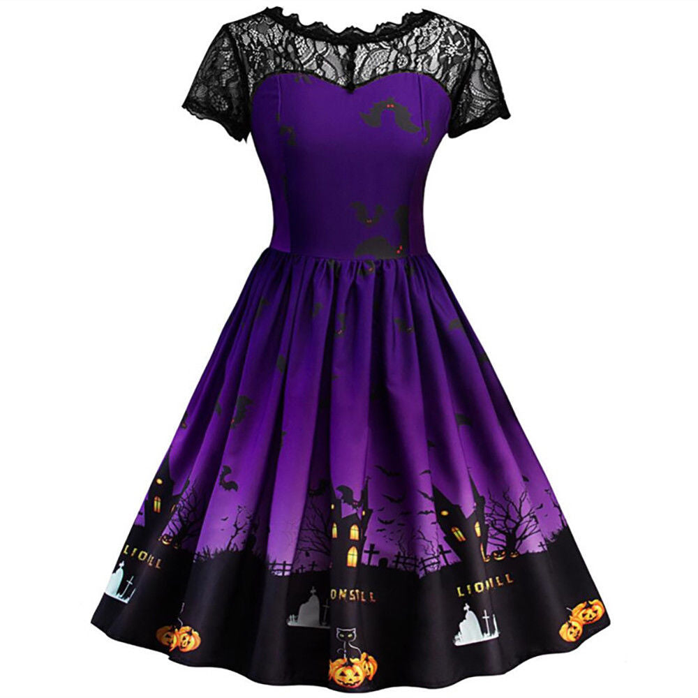 Womens Halloween Lace Panelled Dress Party Witch Short Sleeve Floral Print Dress | Edlpe