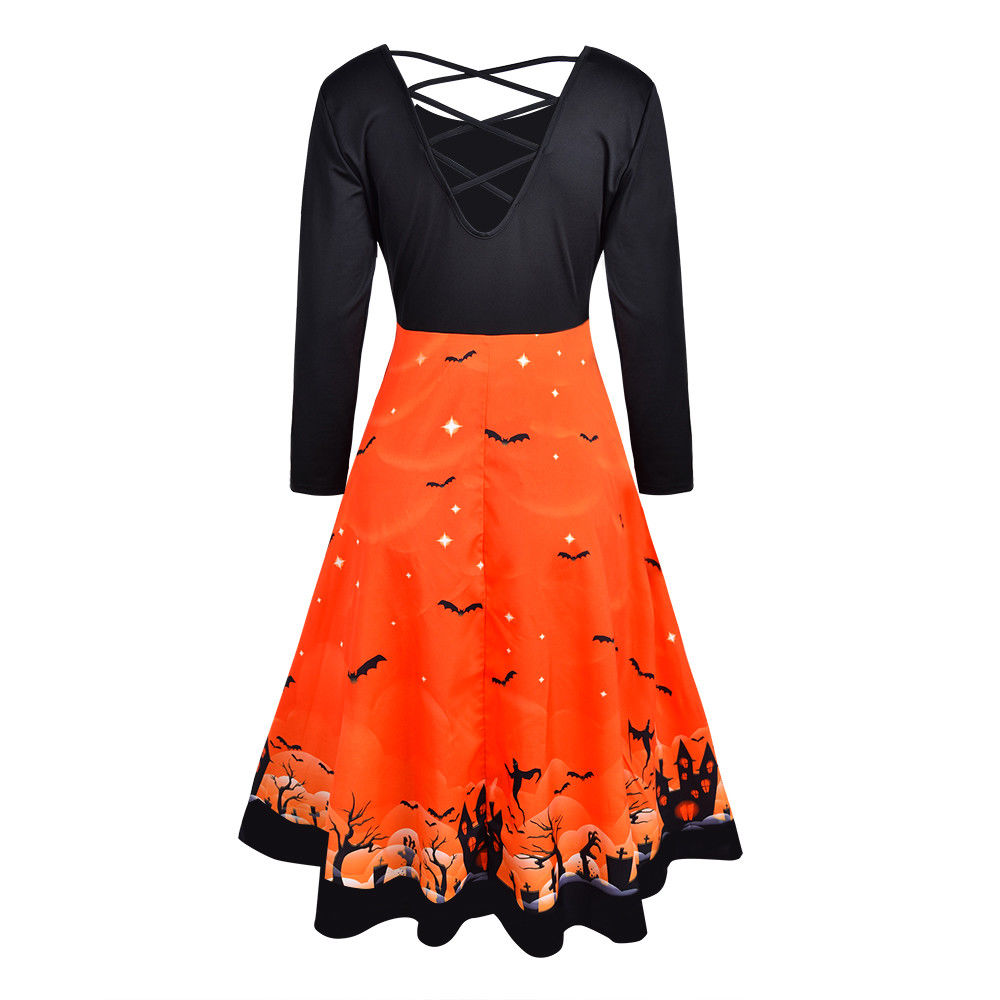Womens Halloween Print Cross Back Long Sleeve Midi Dress Ladies Sexy Party | Edlpe