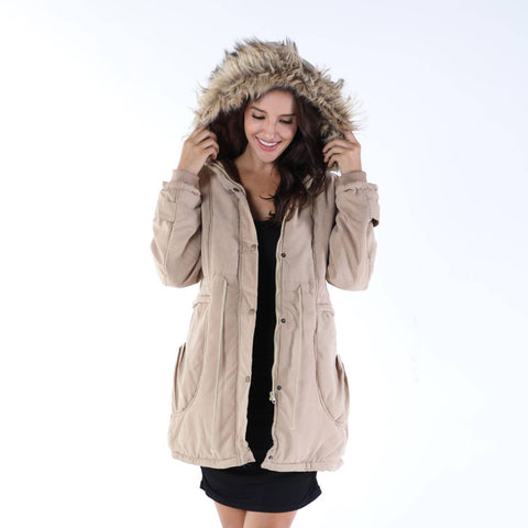 Fur Collared Long Sleeve Coat Ladies Zip Up Casual Winter Warm Jacket | Edlpe