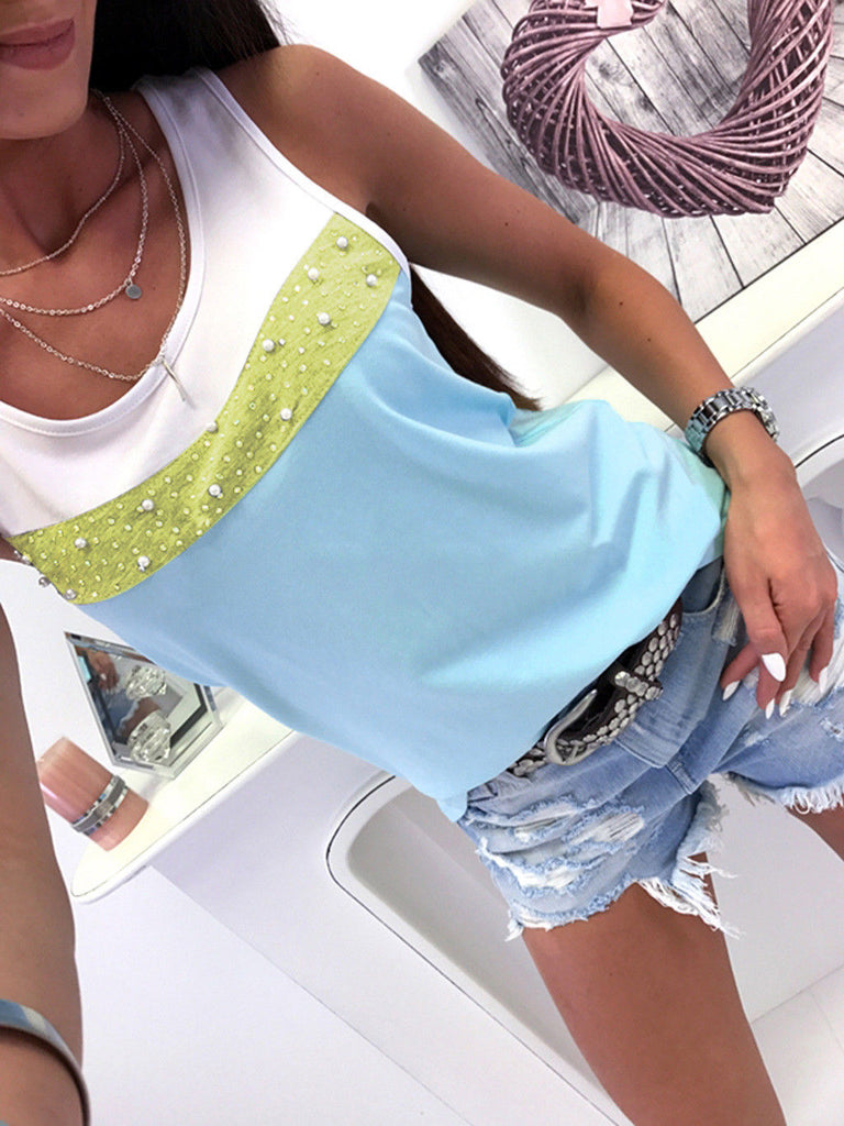 Womens Summer Sleeveless Splice Tops Blouse Ladies Casual Tank Vest T Shirt | Edlpe